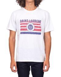 Saint Laurent - Cotton Jersey T-shirt With University Print - Lyst