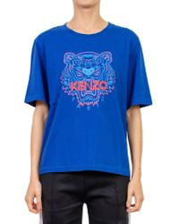 ccf35a3248 KENZO 'indonesian Flower' Tiger T-shirt in Blue - Lyst