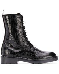 Max Mara Leather Combat Boots - Black