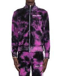 Palm Angels Purple Chenille Tie-dye Track Jacket