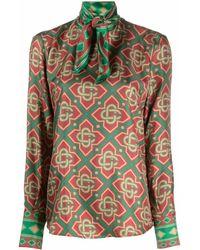 CASABLANCA Monogram Longsleeved Silk Blouse - Red