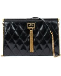 Givenchy Medium Gem Bag In Diamond Quilted Leather - Black