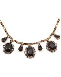 Alexander McQueen Crystal-embellished Figaro Chain Necklace - Black