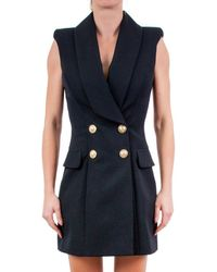 Balmain Double-breasted Sleeveless Dress - Black