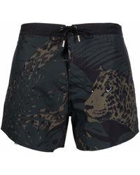 Saint Laurent 'leopard Nocturne' Beach Boxers - Green