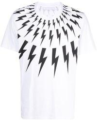 Neil Barrett Fair-isle Thunderbolt T-shirt - White