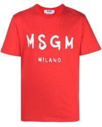 MSGM T-SHIRT LOGO - Rosso