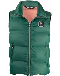 Palm Angels Logo Patch Padded Vest - Green