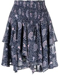 Étoile Isabel Marant Paisley-print Layered Cotton Skirt - Blue