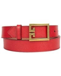 Givenchy Double G Belt In Leather - Red