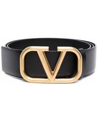 Valentino Garavani Vlogo Buckle Leather Belt - Black