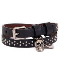 Alexander McQueen Leather Studs Bracelet - Black