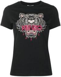KENZO Tiger Print Cotton T-shirt - Black