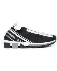 Dolce & Gabbana Black And White Sorrento Slip-on Sneakers