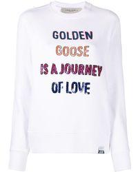 Golden Goose Sequinned Slogan Sweatshirt - White