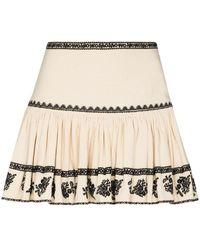 Étoile Isabel Marant Short Embroidered Skirt - Natural