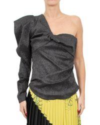 Isabel Marant - One-shoulder Volume-sleeve Metallic Twist-front Top - Lyst
