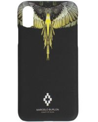 Marcelo Burlon 'yellow Wings' Iphone Xs Max Cover - Black