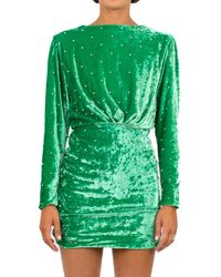 The Attico Stud Detail Textured Dress - Green
