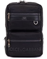 Dolce & Gabbana Sicilia Dna Nylon Backpack With Rubberized Logo - Black