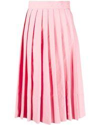Plan C Knife-pleat Knee-length Skirt - Pink