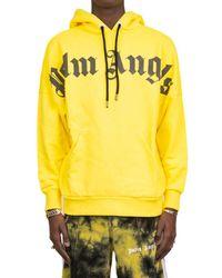 Palm Angels Logo Print Hoodie - Yellow