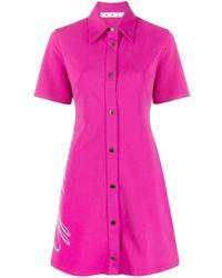 Off-White c/o Virgil Abloh Pink Logo-print Shirt Dress
