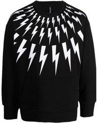 Neil Barrett Fair-isle Thunderbolt Sweatshirt - Black