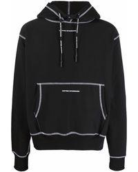 United Standard Logo-print Contrast-stitch Hoodie - Black