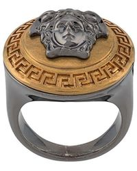 Versace - Gold Two-tone Medusa Ring - Lyst
