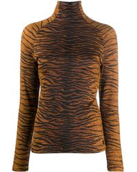 KENZO Printed Stretch Jersey Top - Brown