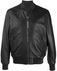 Givenchy Logo Leather Jacket - Black