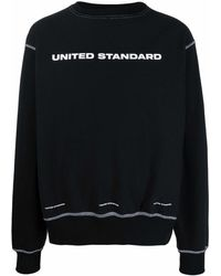 United Standard Logo-print Contrast-stitch Sweatshirt - Black