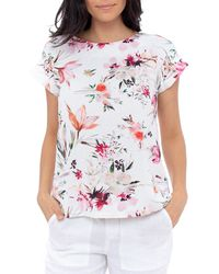 Jump Button Back Floral Top - White