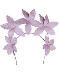 Morgan Taylor Textured Pu Flowers On Halo Headband - Pink