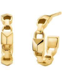 """Michael Kors Mercer Link Sterling Silver 1-1/5"""" Hoop Earrings - Metallic"""