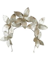 Morgan Taylor Textured Pu Flowers On Halo Headband - Metallic