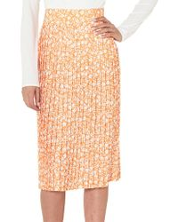 BY JOHNNY. Floral Pleated Midi Skirt - Orange