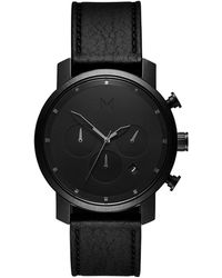 MVMT Chrono Black Leather Strap Watch 45mm
