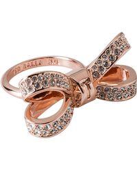 Ted Baker - Olima Opulent Pavé Bow Ring - Lyst