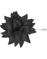 Calibre Black Leather Flower Lapel Pin