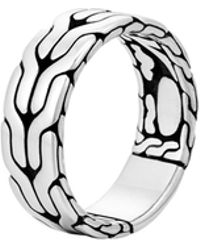 John Hardy - Classic Chain Silver Band Ring 8mm - Lyst