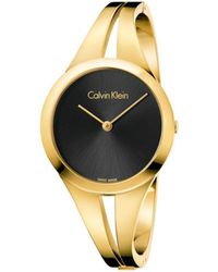 CALVIN KLEIN 205W39NYC - Addict Lady Polished Yellow Gold Pvd Bangle, Black Dial - Lyst
