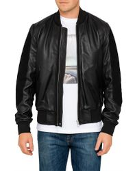PS by Paul Smith - Leather Bomber Jacket W/ Suede Sleeves - Lyst