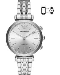 Emporio Armani - Gianni T-bar Silver Hybrid Smartwatch - Lyst