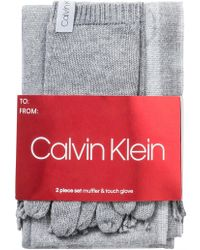 Calvin Klein 2 Pc Varsity Ck Scarf, Knit Touch Glove - Gray