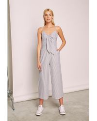 The Fifth Label Devotion Stripe Jumpsuit - Gray