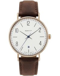 GANT - Detroit, Rose Gold, White Dial - Brown Leather - Lyst