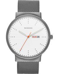 Skagen - Ancher Silver Stainless Steel Mesh Watch - Lyst
