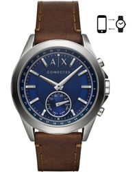 Armani Exchange - A/x Connected Leather-strap Hybrid Smartwatch - Lyst